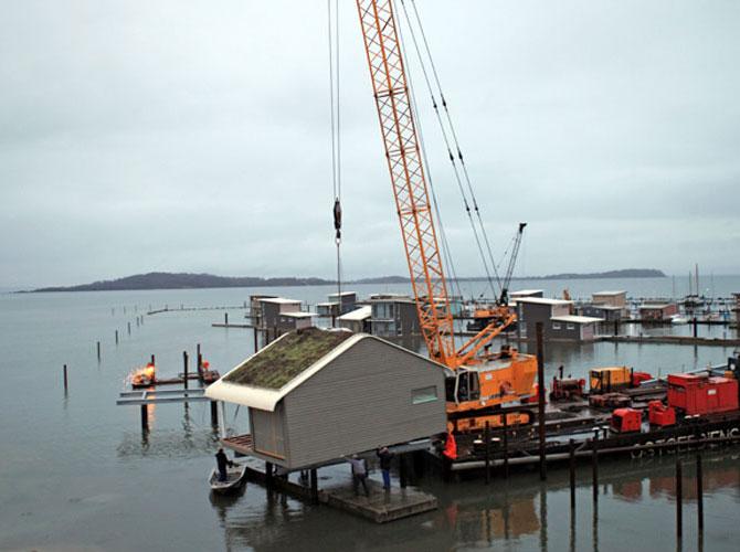 Errichtung der Pfahlbauten Lauterbach Insel Rügen