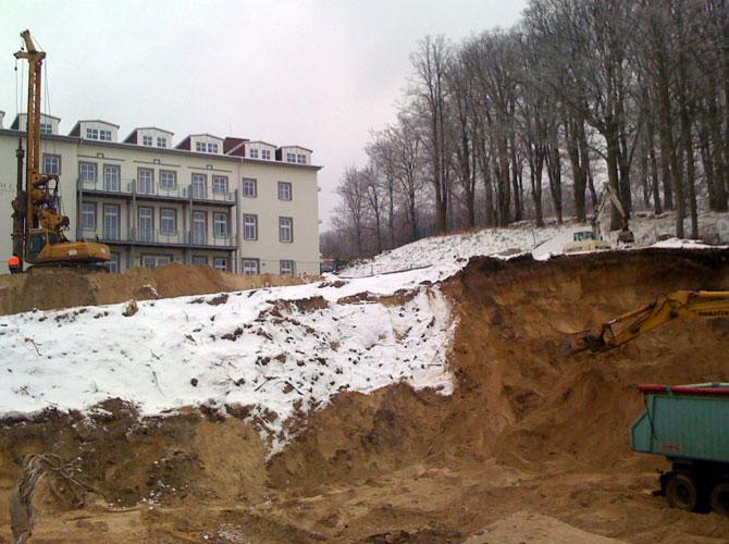 Neubau der Tiefgarage an der Wilhelmstraße im Ostseebad Sellin der Insel Rügen