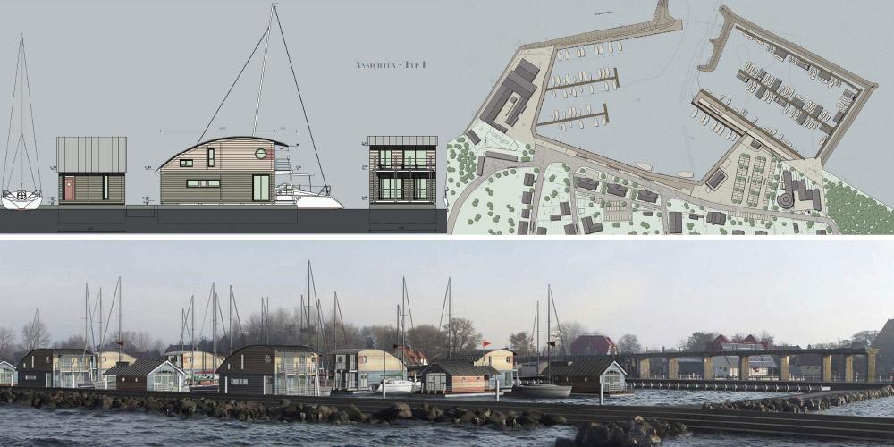 Nordhafen Wiek, schwimmende Ferienhäuser