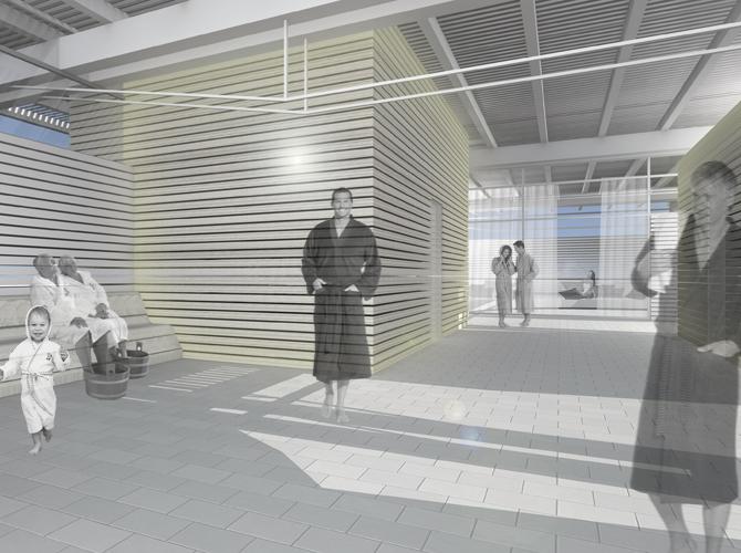 Innenraumperspektive und Visualisierung des Entwurfes zur Erweiterung der bestehenenden Saunaanlage im Freizeitbad in Greifswald